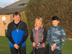 Captain Pete Wood, Lady Captain Julie Ricketts and Junior Captain Luca Crolla