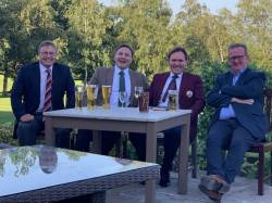 Yes Mens Section cannot believe we are sat out on the Patio for Saturday's Presentation during Captain Woods second reign in Command