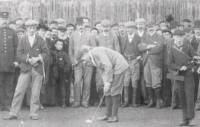 Renouf, left, watches Vardon putt in a match at Silloth, 1898